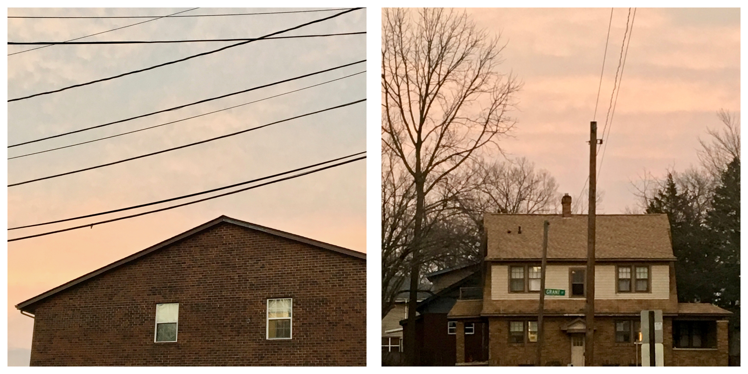 Houses near the campus in the evening